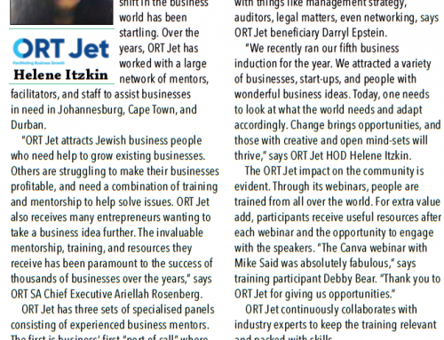Jewish Report Article: ORT Jet helps small businesses and changes lives
